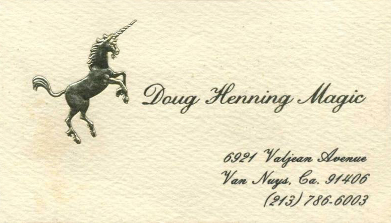 Grandinetti Collection - Doug Henning 1979 Business Card