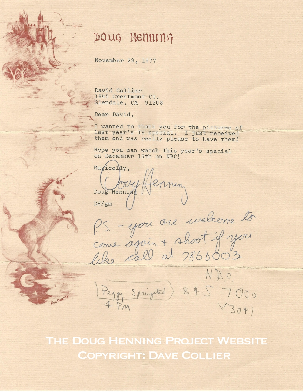 Letter from Doug Henning to Dave Collier