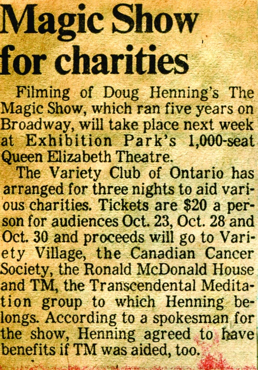 Doug Henning Movie taping article.cdr